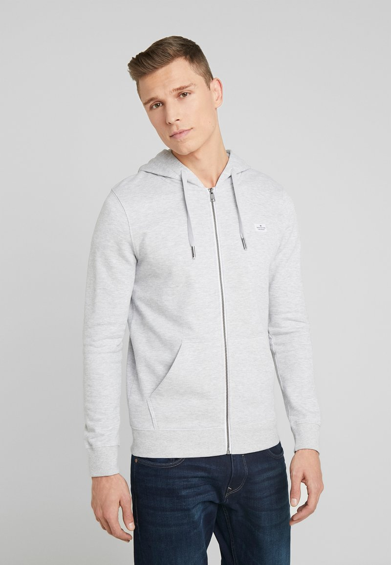 TOM TAILOR DENIM - HOODIE JACKET - Zip-up hoodie - light stone grey melange