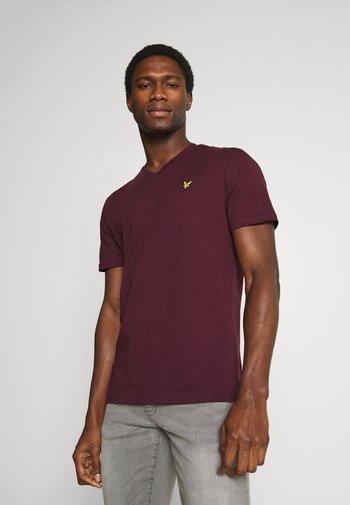 V NECK - T-shirt - bas - burgundy