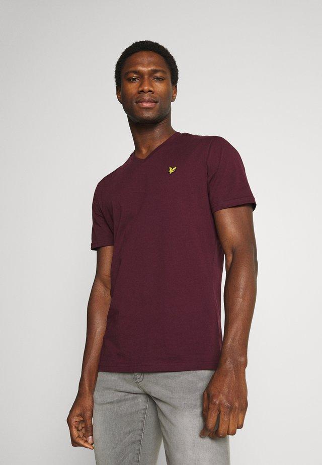 V NECK - T-shirt basic - burgundy