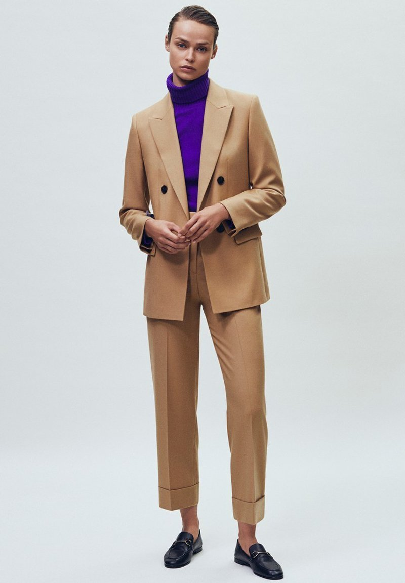 Massimo Dutti - MIT UMGESCHLAGENEM SAUM - Bukser - beige