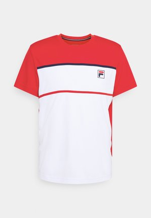 STEVE - Print T-shirt - white/fila red