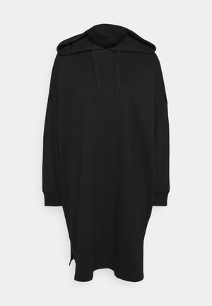 MINI HOODED LOOSE FIT DRESS - Day dress - black
