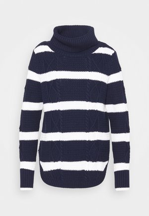 CABLE T NECK - Pullover - navy/white