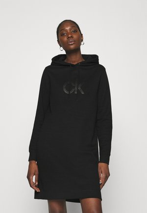 HOODED DIAMANTE DRESS - Day dress - black