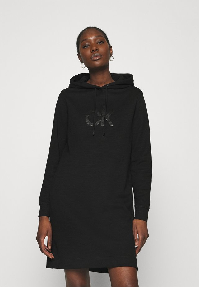 HOODED DIAMANTE DRESS - Korte jurk - black