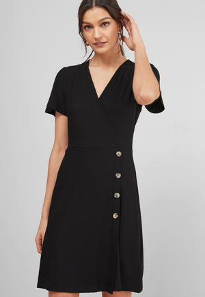 WRAP BUTTON - Day dress - black