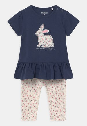SET - Print T-shirt - dark blue/mottled beige
