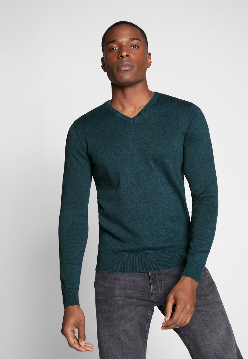 TOM TAILOR - BASIC VNECK - Jersey de punto - deep pond green