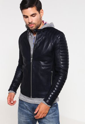 LEMAN - Leather jacket - bleu