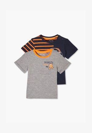 2ER-PACK  - Print T-shirt - grey melange/navy stripes
