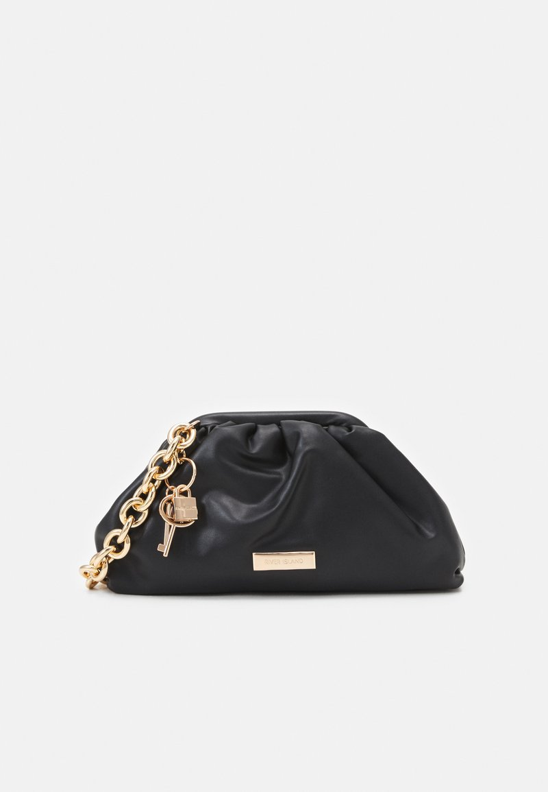 River Island - CHUNKY CHAIN ROUCHED BAG - Handbag - black