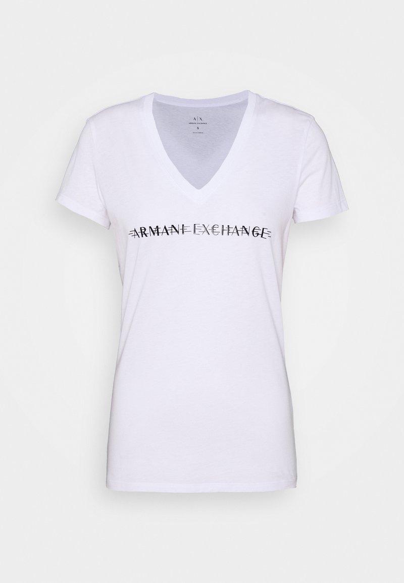 Armani Exchange - V-NECK - Print T-shirt - optic white