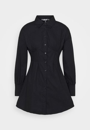 CORSET STITCHING DRESS - Shirt dress - black