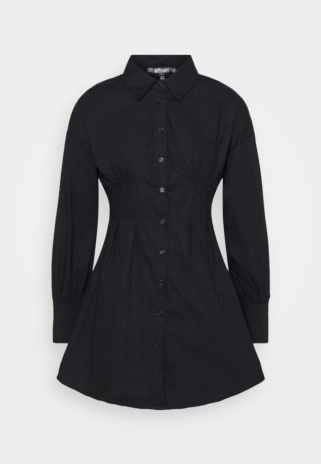 CORSET STITCHING DRESS - Skjortekjole - black