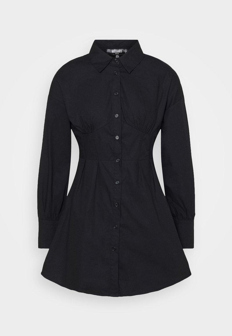 Missguided Petite - CORSET STITCHING DRESS - Shirt dress - black