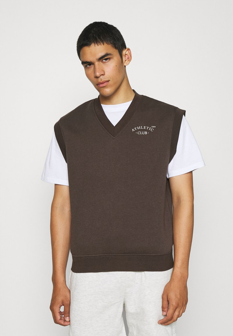 Jack & Jones - JORTOBIAS V-NECK VEST UNISEX - Sweatshirt - seal brown