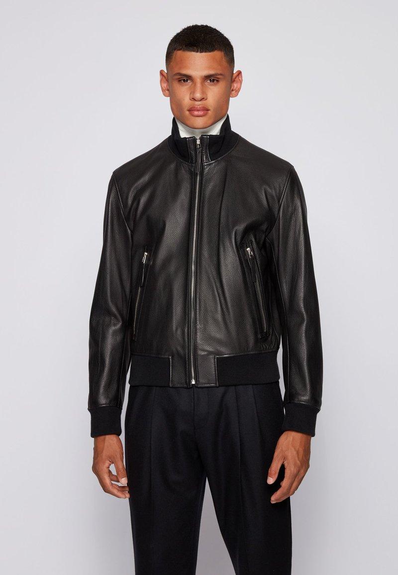 BOSS - NEOVEL - Leather jacket - black
