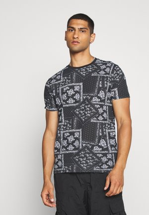 ESCHER - Print T-shirt - jet black/optic white