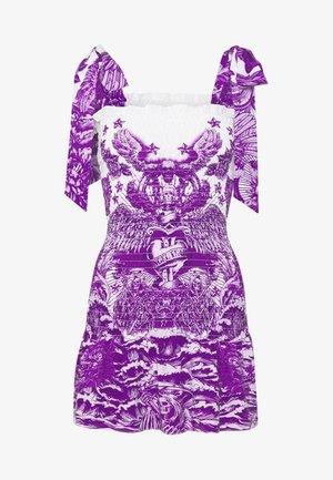 SHIRRED MINI DRESS WITH TIE SHOULDER - Denní šaty - lilac