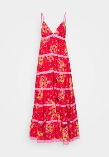 TIKI BANANAS TIERED DRESS - Vestito lungo - red