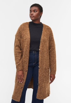 WITH BUTTONS AND POCKETS - Cardigan - brown