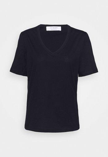 V NECK - Basic T-shirt - navy blue