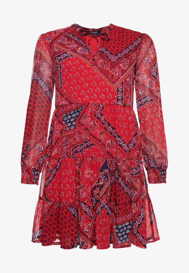 Shirt dress - red paisley scarf