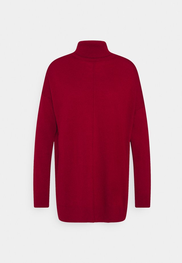 TURTLE NECK - Jumper - dark red