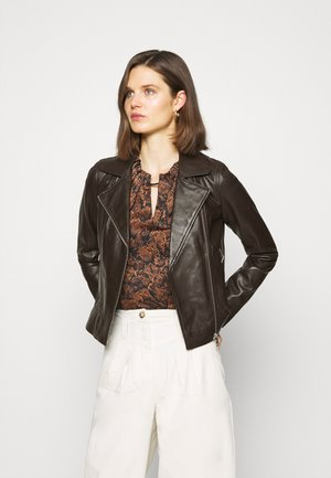 MARJORY - Leather jacket - dark brown