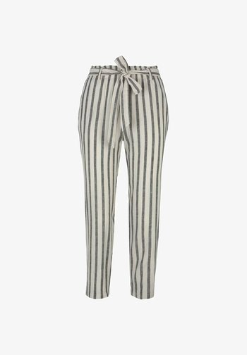 Trousers - black beige stripe