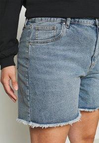 Cotton On Curve - HIGH WAISTED - Denim shorts - brunswick blue - 4