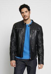 Goosecraft - BIRMIGHAM BIKER - Leather jacket - black - 0