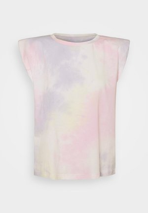 ONLAMY PADDEDSHOULDER TIE DYE - Print T-shirt - yellow pear/yellow/pink