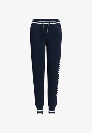 MET TEKST - Tracksuit bottoms - dark blue