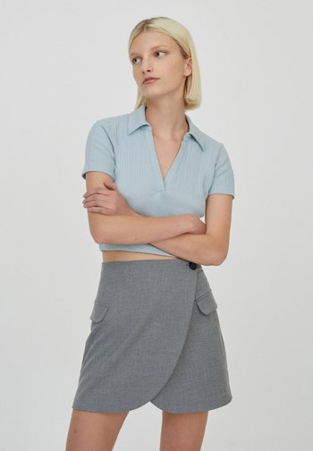 Wrap skirt - mottled light grey