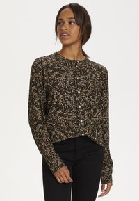 Kaffe - Blouse - black w.green/sand dot flower - 0