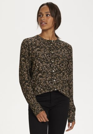 Blouse - black w.green/sand dot flower