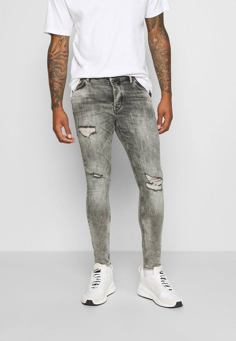 Gym King - WASHED RIP AND REPAIR - Jeans Skinny Fit - dark grey