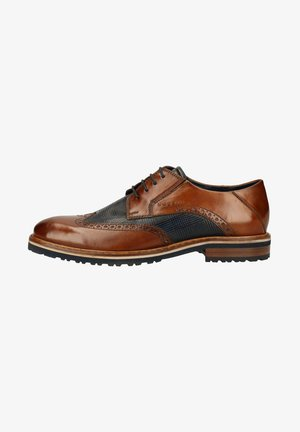 Smart lace-ups - cognac / blue