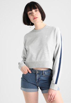 STAR CHERVON TRACK CROPPED CREW  - Sweatshirts - vintage grey heather