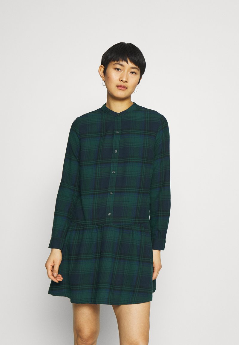 GAP - DRESS PLAID - Shirt dress - dark green