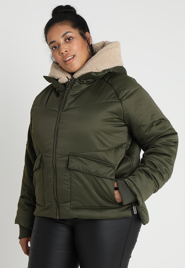 LADIES HOODED - Winterjas - darkolive/darksand