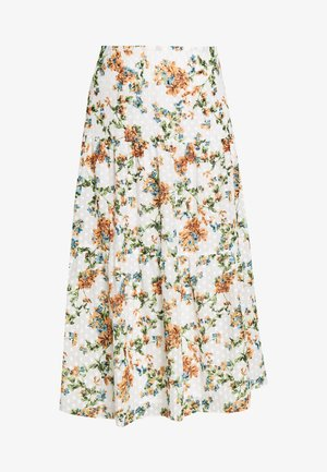 DOBBY FLORAL TIERED MIDAXI - Maxi sukně - ivory