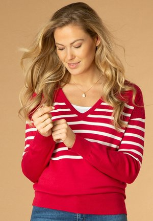 TIANA - Long sleeved top - red/white