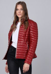 Basics and More - Leather jacket - red - 4