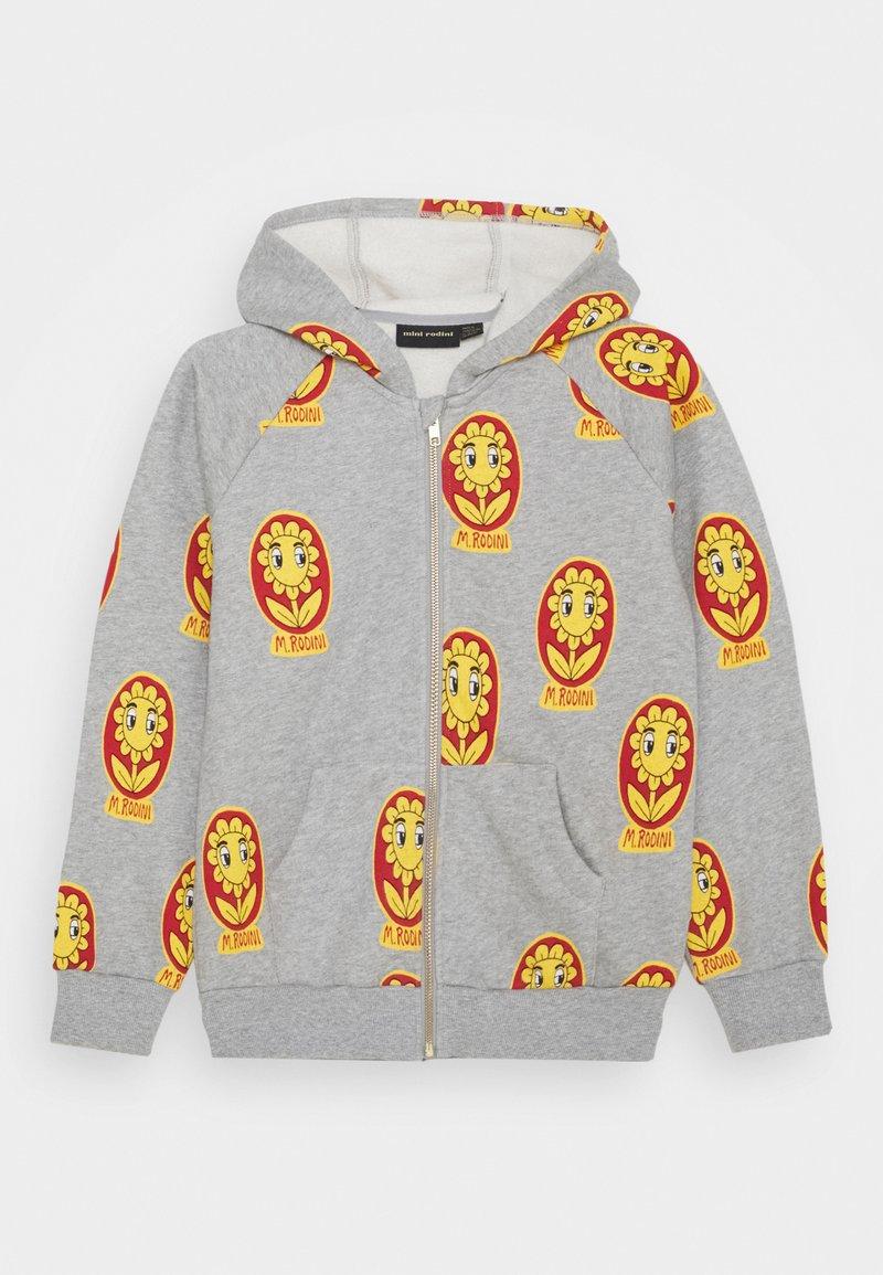 Mini Rodini - FLOWER ZIP HOODIE UNISEX - Zip-up hoodie - grey melange