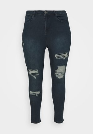 HIGH WAIST RIPPED SHORT - Skinny džíny - indigo