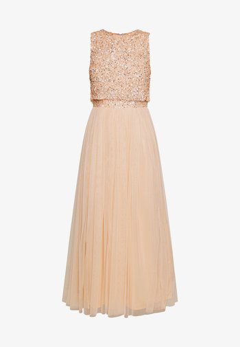 EMBELLISHED OVERLAY MIDAXI DRESS