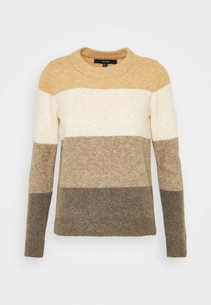 VMPLAZA BLOUSE - Strickpullover - tan/birch/sepia tint/bungee