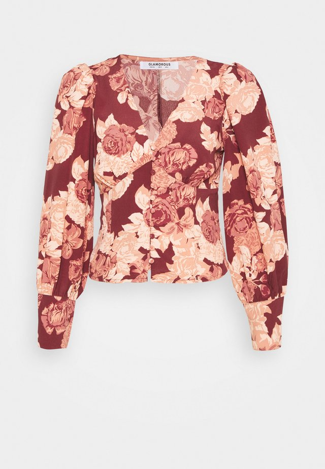 Blouse - brown apricot rose